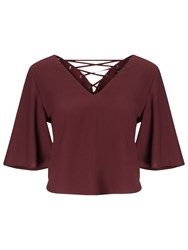 Miss Selfridge Lace Up Back T Shirt Burgundy