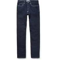 Givenchy Cuban Fit Leather Trimmed Denim Jeans Blue
