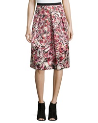 Phoebe Couture Floral Jacquard Midi Skirt