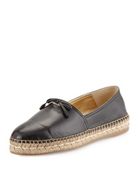 Prada Leather Cap Toe Flat Espadrille Black Nero