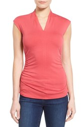 Women's Vince Camuto Side Ruched Pleat V Neck Top Guava Fruit