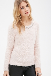Forever 21 Rhinestoned Fuzzy Knit Sweater