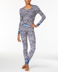 Lucky Brand Printed Thermal Pajama Gift Set Navy Vines