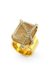 Women's Louise Et Cie Stone And Crystal Ring Gold Citron Crystal