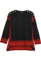 Alexander Mcqueen Button Embellished Two Tone Cashmere Sweater Black