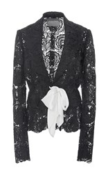 Monique Lhuillier Flower Lace Jacket Black