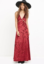 Forever 21 Crushed Velvet Maxi Dress Burgundy