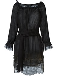 Alberta Ferretti Metallic Detailing Pleated Dress Black