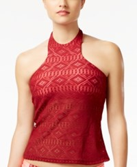 Hula Honey Mojave Diamond High Neck Crochet Tankini Top Women's Swimsuit Burgundy Coral