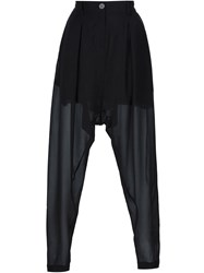 Isabel Benenato Sheer Drop Crotch Trousers Black