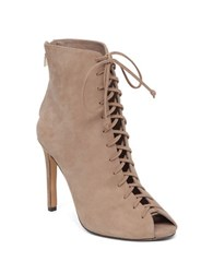 Vince Camuto Kelby Peep Toe Leather Booties Taupe