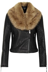Topshop Faux Fur Shawl Biker Jacket Black