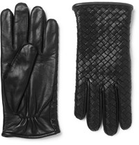 Bottega Veneta Cashmere Lined Intrecciato Leather Gloves Black