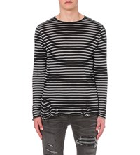 Amiri Striped Cotton And Cashmere Blend Top Black White