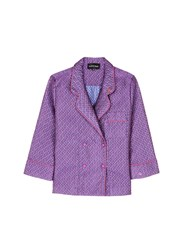 Love Stories 'Donald T' Diamond Jacquard Pyjama Shirt Purple Multi Colour