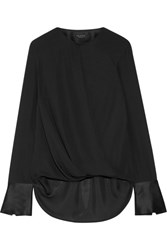 Rag And Bone Max Wrap Effect Satin Trimmed Silk Crepe De Chine Blouse Black