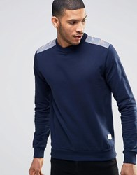 Bellfield Sweatshirt With Floral Print Shoulder And Elbow Patches Navy