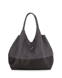 Large Woven Cervo Hobo Sling Bag Dark Gray Black Henry Beguelin