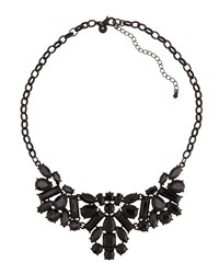 Lydell Nyc Jet Black Crystal Cluster Bib Necklace Women's