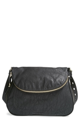 Big Buddha 'Jarianna' Faux Leather Messenger Bag Black