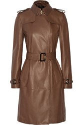 Burberry London Cullingham Leather Trench Coat Chocolate