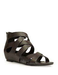Me Too Alea Leather Back Zipper Strap Sandals Charcoal Grey
