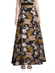 Alice Olivia Rachele Paisley Printed Long Skirt Black Gold