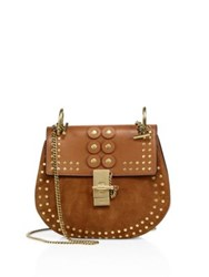 Chlo Drew Small Studded Leather And Suede Crossbody Bag Caramel Black