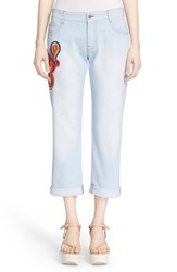 Women's Stella Mccartney 'Tomboy' Embroidered Jeans Sun Faded Blue
