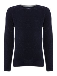 Criminal Ennis Pattern Crew Neck Jumper Navy