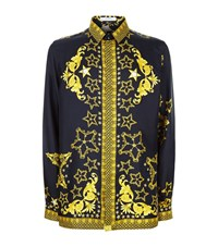Versace Collection Baroque Star Print Silk Shirt Male