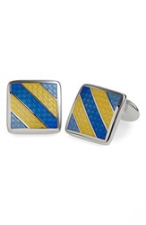 Men's David Donahue Enamel Cuff Links Yellow Silver