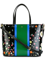 Tory Burch Flower Print Striped Tote Black