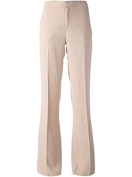 Msgm High Waisted Flared Trouser Nude And Neutrals