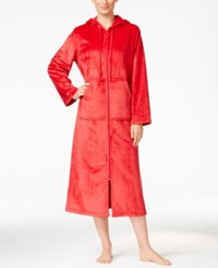 Charter Club Super Soft Hooded Zip Front Robe Only At Macy's Candy Red