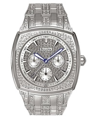 Bulova Men's Crystal Accented Silver Tone Bracelet Watch 96C002 Women's Shoes