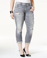 Silver Jeans Co. Silver Jeans Plus Size Suki Ripped Grey Wash Cropped Jeans