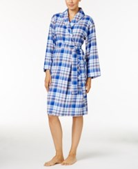 Jockey Shawl Collar Flannel Wrap Robe Blue Plaid