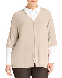 Lafayette 148 New York Relaxed V Neck Sweater Women's Melba Melange