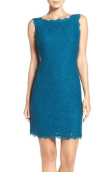 Adrianna Papell Women's Boatneck Lace Sheath Dress Deep Turquoise