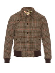 Gucci Bird Applique Hound's Tooth Wool Jacket Brown Multi