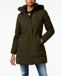 Lucky Brand Faux Fur Trim Hooded Quilted Anorak Dark Olive