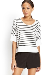 Forever 21 Boxy Striped Dolman Top Black White