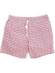 Hartford Mid Length Geometric Swim Shorts
