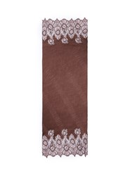 Valentino Floral Lace Trim Plisse Pleat Cashmere Scarf Brown