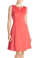 Women's Ellen Tracy Keyhole Front Scuba Fit And Flare Dress Coral