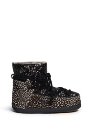 Ikkii Leopard Sequin Sheepskin Shearling Moon Boots Black Animal Print