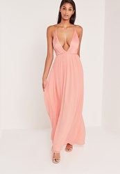 Missguided Carli Bybel Pleated Silky Maxi Dress Pink Beige