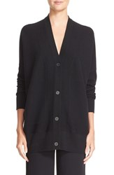 Vince Women's V Neck Mesh Panel Double Face Wool And Silk Cardigan Black