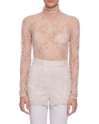 Lanvin Long Sleeve Sheer Lace Turtleneck Top Nude